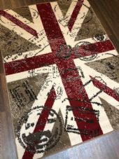 Modern Rugs Approx 6x4FT 120x170cm Woven Union Jack Stamped Design rugs Beige